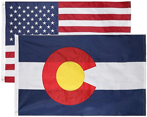 2 Pack - Nylon Sate & American Flag 3x5 Combo Pack - Embroidered Oxford 210D Nylon - Durable & Long Lasting - 4 Stich Hemming. Vivid & Fade Resistant. by Cascade Point (Colorado + USA (2 Pack))