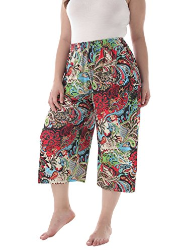 ZERDOCEAN Women's Plus Size Printed Stretchy Relaxed Lounge Capris with Pockets 103 1X