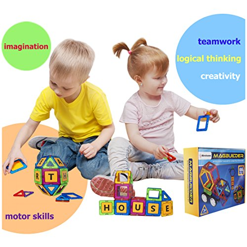 Simbans Magbuilder STEM Build and Play Toy | 66 Pcs Magnetic Blocks, Letters and Wheels Gift Set | Best Educational Learning Present for Toddlers, Preschool Kids Age 3, 4, 5, 6 Year Old Boys, Girls
