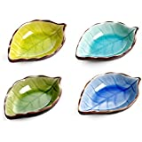 Astra shop Appetizer Plates Ceramic Leaf Shape Porcelain Saucers Bowl Sauce Dishes Sushi Dinnerware, Set of 4