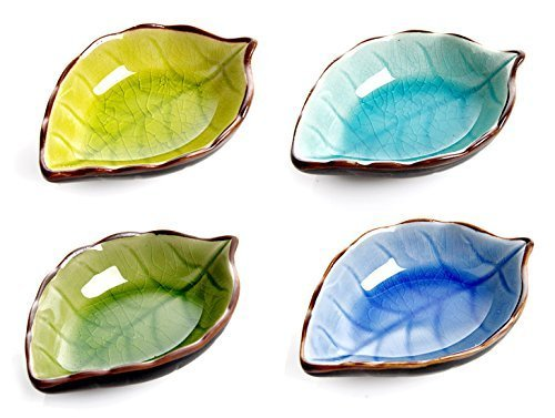 Astra shop Appetizer Plates Ceramic Leaf Shape Porcelain Saucers Bowl Sauce Dishes Sushi Dinnerware, Set of 4 (Small Dish Leaf)