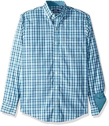 (IZOD Men's Premium Performance Natural Stretch Plaid Long Sleeve Shirt (Regular and Slim Fit) )