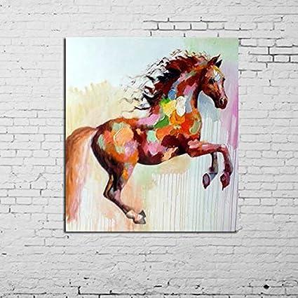 CHASOE 100% Imágenes De Animales Pintadas A Mano Running Horse Modern Abstract Wall Art Pintura Al Óleo sobre Lienzo para Decoración De Sala De Estar