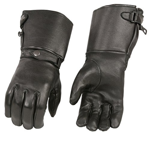 M-BOSS APPAREL-Men's USA Deerskin Thermal Lined Gauntlet Gloves w Snap Wrist & Cuff-Black-S ()