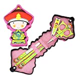 Set Of 5 Colored Nail Clippers Cute Chinese Emperor Pattern Manicure Set, Yellow
