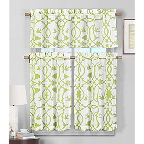 Sheer White Kitchen Curtains With Leaves: Amazon.com