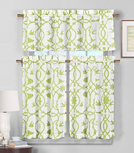Green Kitchen Curtain - 3 Piece Sheer Window Curtain Set: Botanical Design, 2 Tiers, 1 Valance (Green and White)