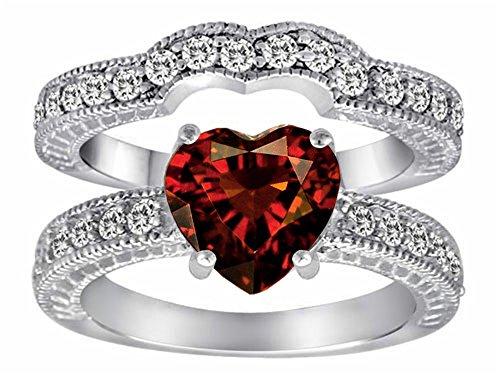 Star K 8mm Heart Shape Genuine Garnet Wedding Set Sterling Silver Size 7 ()