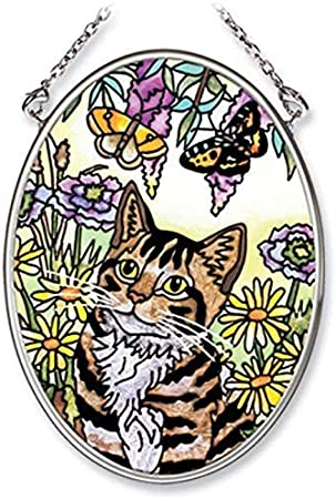 3-1//4-Inch by 4-1//4-Inch Oval Amia Hand Painted Glass Suncatcher with Cat Design