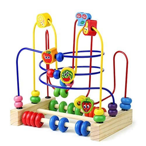 Montessori Toys Wooden Fruits Bead Maze Roller Coaster Activity Cube Educational Abacus Beads Circle Toys Gift Colorful Activity Game for Children Toddlers Kids Boys Girls