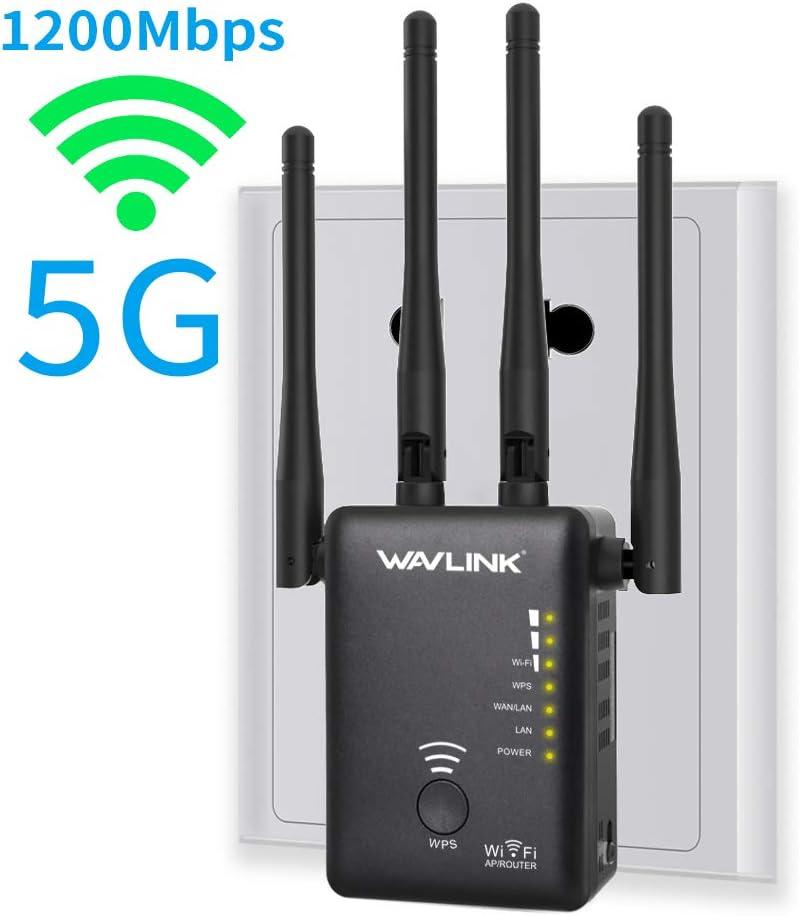 WAVLINK AC1200 WAVLINK - Amplificador WiFi de largo alcance, 1200 Mbps de doble banda, repetidor de señal 5K y punto de acceso/enrutador con 4 antenas ...