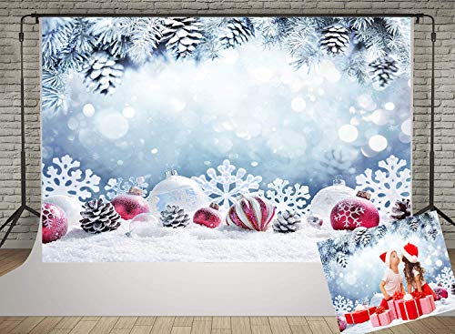 Vprine 7x5ft Frozen Christmas Backdrop for Photographer Winter Snow Fir Branches Photo Background Snowflake Shooting Photography Props (Photographer Background)
