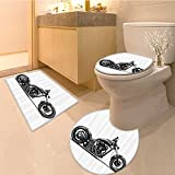 3 Piece Anti-slip mat set Custom Made Expensive Horsepower Adventurous Masculine Vehicle Extralong Non Slip Bathroom Rugs
