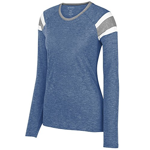 Augusta Sportswear Ladies Long Sleeve Fanatic Tee 2XL Royal/Slate/White (Best Sportswear For Ladies)