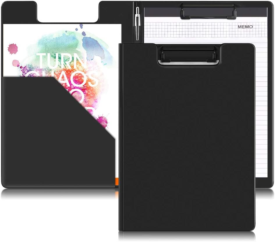 L-Hydrone Clipboards Folder Hardboard by Office Solutions Direct with Memo pad Low Profile Clip Standard A4 Letter Size Classroom Supplies