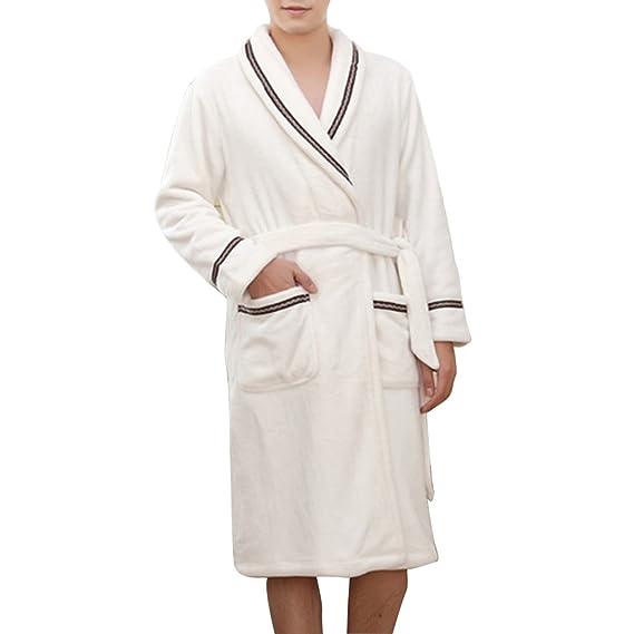 85f64ec5d3 Accappatoio bianco Kimono vestaglia con cinghia pigiama uomo manica lunga:  Amazon.it: Abbigliamento