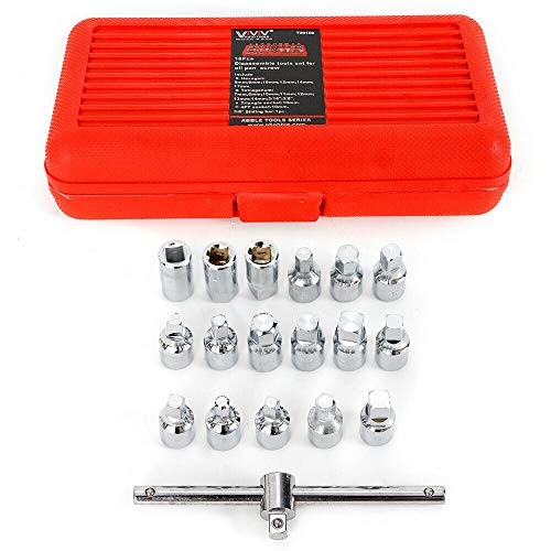 18pcs Oil Drain Sump Pipe Plug Hexagon Square Socket Key Removal Tool Set Gearbox and Axle 3/8