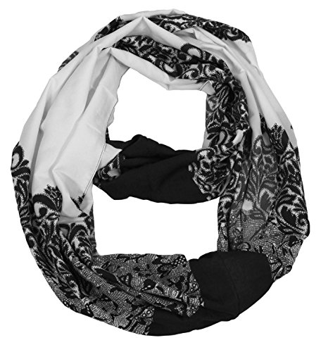 Peach Couture Vintage Womens Bohemian Design Infinity Loop Scarves (Damask Black/White)