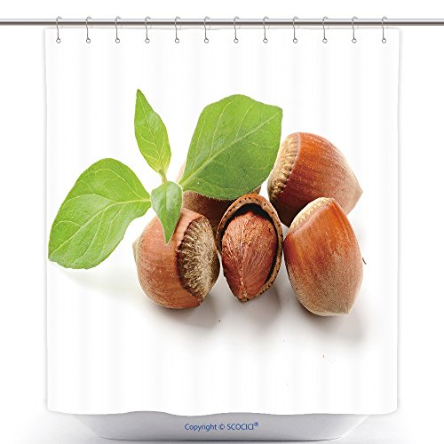 Custom Shower Curtains Hazel Nuts With Leaves On The White Background 59829043 Polyester Bathroom Shower Curtain Set With Hooks