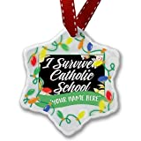 Personalized Name Christmas Ornament, Floral Border I Survived Catholic School NEONBLOND