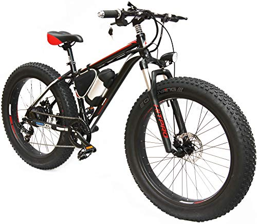 Hitpro Electric Bicycle Men's E-bike Fat Snow Bike 36V Li-Batteries Tyres: 26' x 4' (black and red)