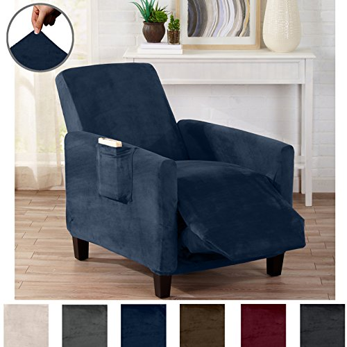 Slipcover Blue Denim (Great Bay Home Modern Velvet Plush Strapless Slipcover. Form Fit Stretch, Stylish Furniture Cover/Protector. Gale Collection by Brand. (Recliner, Dark Denim Blue))