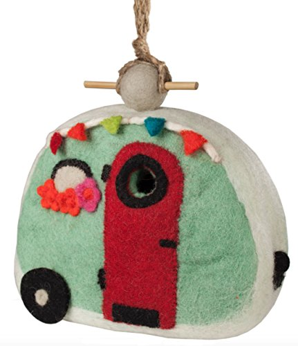 DZI Wild Woolies Retro Camper Felt Bird House Snow Country Felt