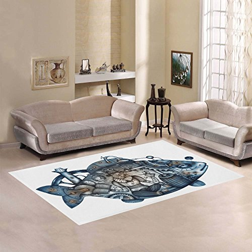 Steampunk Mechanical Fish Area Rug 7' x 5' Feet Underwater Submarine