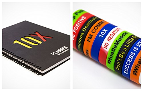10X Planner By Grant Cardone Bundle with Set of 5 Grant Cardone Wristband Bracelets