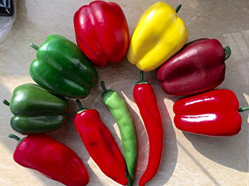 sexyrobot 10pcs Simulation Artificial Lifelike Chili Fake Pepper Vegetable, Mini Fake Vegetable for Home Kitchen Decoration, Teaching Aids by sexyrobot