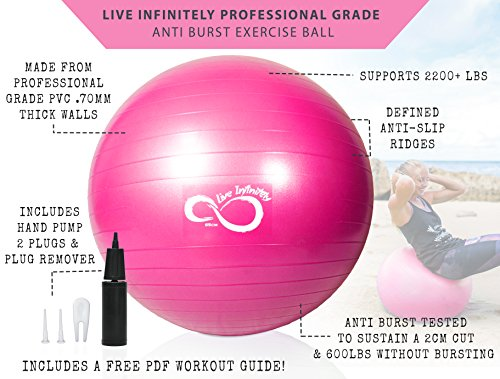 Live Infinitely Exercise Ball (55cm-95cm) Extra Thick Professional Grade Balance & Stability Ball- Anti Burst Tested Supports 2200lbs- Includes Hand Pump & Workout Guide Access Pink 55cm by Live Infinitely (Image #2)