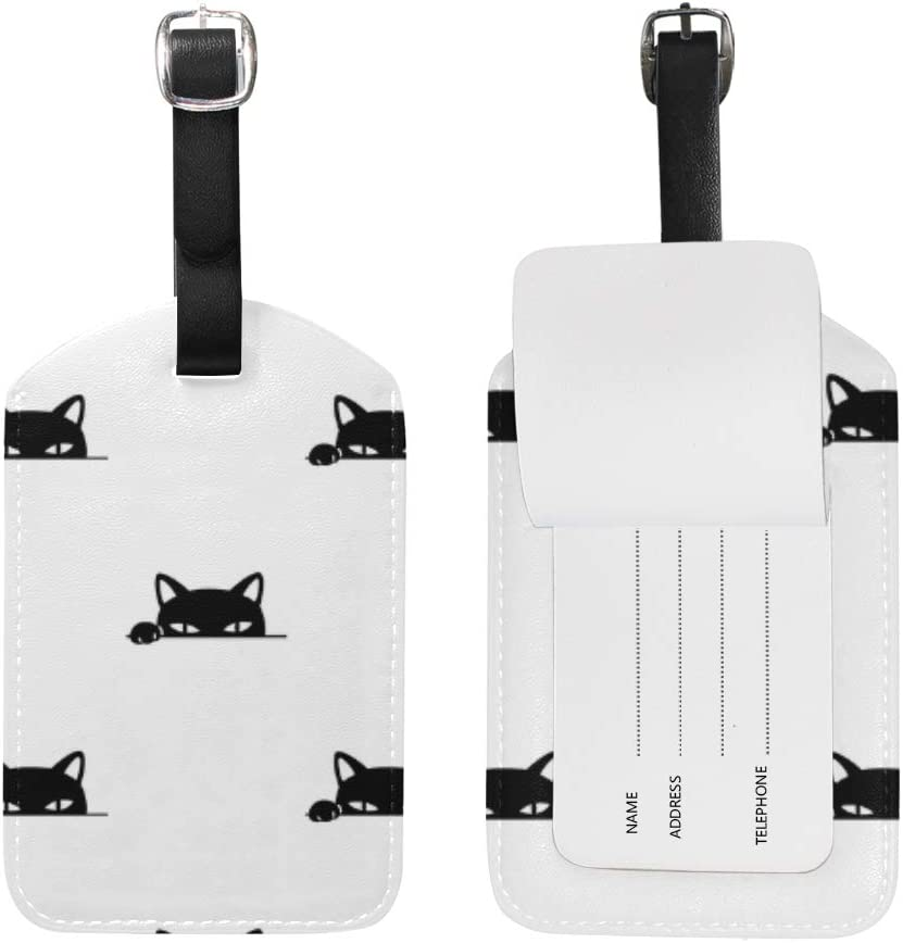 Chic Houses Cute Cat Head Travel Labels Luggage Tag Black And White Theme Cartoon Animal Pattern Name Card Holder for Baggage 2031461