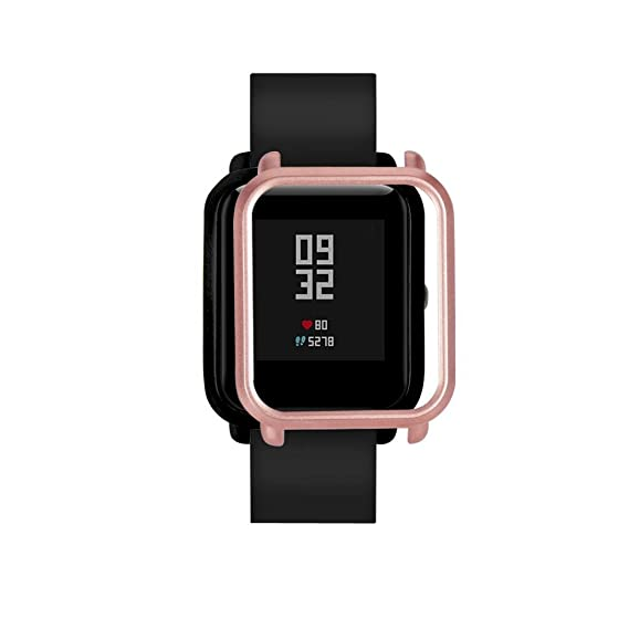 ChainSee Colorful PC Edge Case Cover Protect Bumper Shell for Xiaomi Huami Amazfit Bip Youth Watch (Rose Gold)