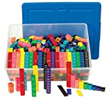 hand2mind Plastic Rainbow Fraction Tower Equivalency Linking Cubes Bulk Classroom Kit with Storage Tote (Pack of 15)