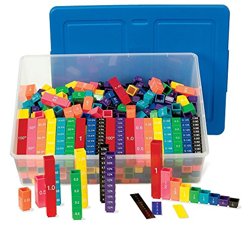 ETA hand2mind Plastic Rainbow Fraction Tower Equivalency Linking Cubes Bulk Classroom Kit with Storage Tote (Pack of 15) ()