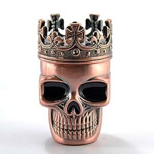 Noble Copper Tone King Skeleton Skull Design Herb Metal Spice Grinder Pollen Holder + Gift Box
