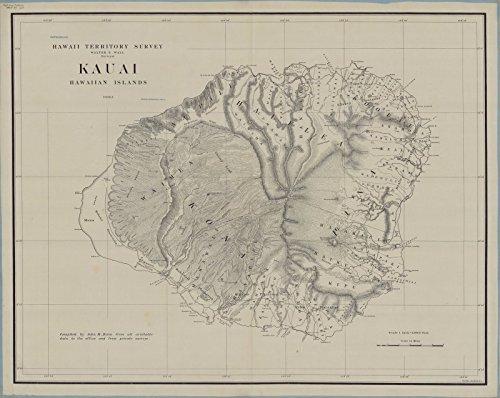 Historic Map | Kauai (Hawaii) 1903 | Kauai, Hawaiian Islands | Antique Vintage Reproduction 24in x 18in ()