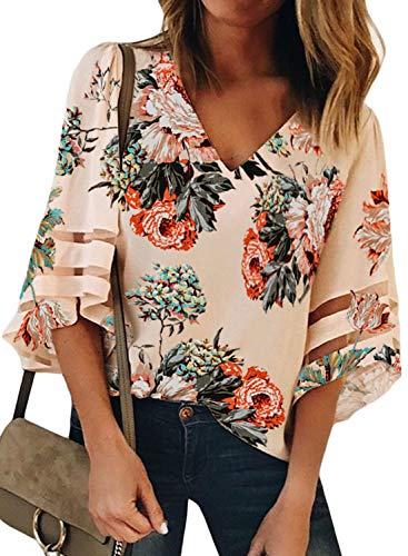 AlvaQ Women's 3/4 Bell Sleeve Shirt Mesh Panel Blouse Floral Print V Neck Casual Loose Tops Apricot ()
