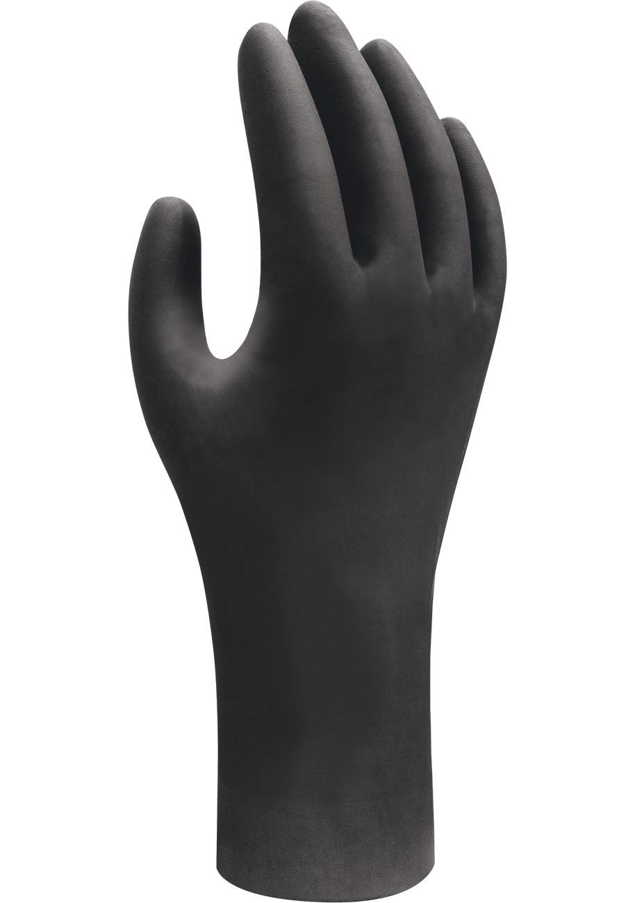 SHOWA 6112PF Biodegradable Nitrile Powder Free Disposable Safety Glove, Black, X-Large, 1 Box of 100 Gloves