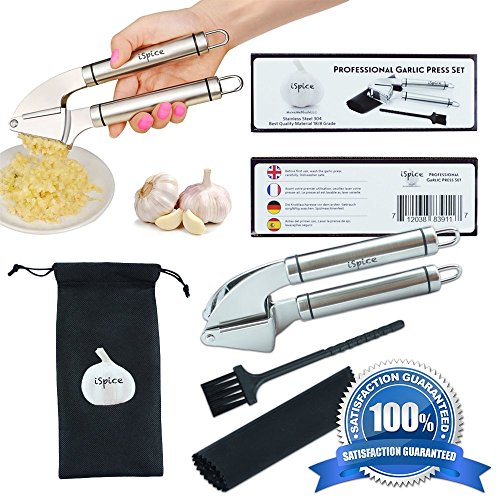 """SPECIAL OFFER! 100% First Class Stainless Steel Ergonomic Garlic Mincer Press Set By """"iSpice"""" With Silicone Roll Peeler + Cleaning Brush """"Say Hello To The New Chef In You"""""""