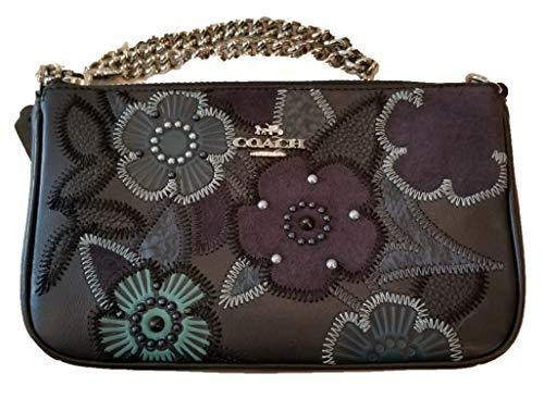 Coach Woman's Nolita Wristlet 19 in Glovetanned Leather & Patchwork Tea Rose (Navy Multi/Silver) ()