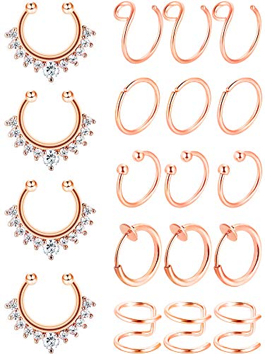 Blulu Fake Nose Ring Hoop Set Stainless Steel Nose Lip Ear Ring Piercing Jewelry Septum Ring Non-Pierced Clip On Cartilage Cuff Body Jewelry, 19 Pieces Totally, 6 Styles (Rose Gold)