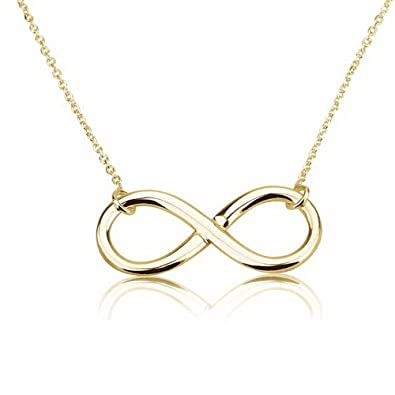 Amazon.com: Infinity Pendant 18k Gold Infinity Necklace (14 Inches ...