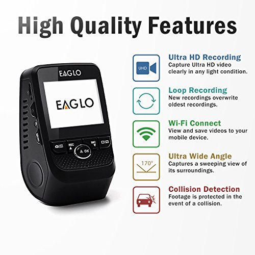 Eaglo E9 4K Car Dash Cam 170° Wide Angle Dashboard Camera Recorder with WiFi, G-Sensor, WDR, Loop Recording by REXING (Image #1)