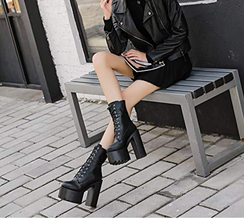 Rome Ladies Cilindro Grueso 35 De 's Women Botas Super Luck Agecc Tacón Boots Womens Table For Lace Inferior Winter 36 You Heeled Black Good New P4fv65qw