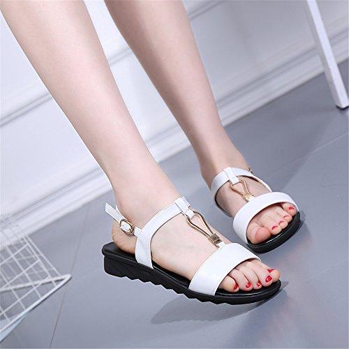 Las mujeres s sandalias de verano T - tipo de amarre - tie non - Zapatos de patinaje Blanco