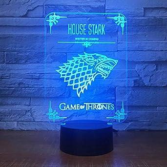 3d Nachtlicht Home Decor Game Of Thrones Haus Stark Wolf Drachen
