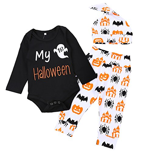 Younger Tree 3Pcs Baby Boy Girl Infant My First Halloween Rompers Pumpkin Pants Outfit Set (Black, 12-18months) ()