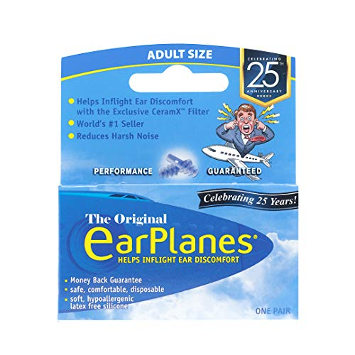 Original Adult EarPlanes by Cirrus Healthcare Earplugs Airplane Travel Ear Protection Bonus Pack (3 Pair)