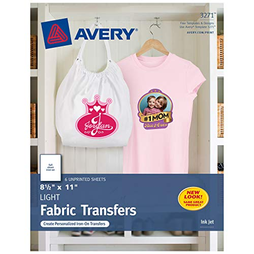 "Avery T-Shirt Transfers for Inkjet Printers, For Light Fabric, 8.5"" x 11"", 6 Transfers (3271), Clear"